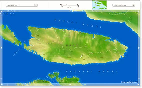 Karta otoka Brača